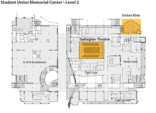 student union memorial center map, level 2