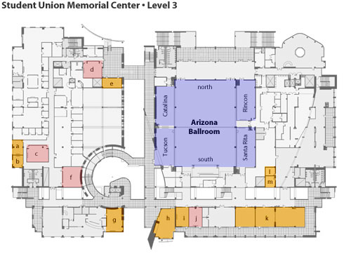 student union memorial center map, level 3